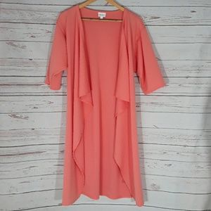 Lularoe open front duster cardigan peach colored s